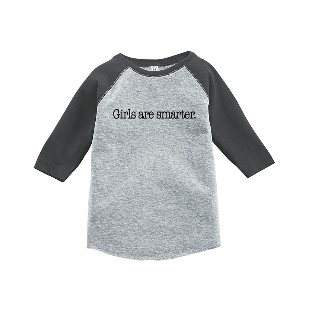 7 ate 9 Apparel Funny Kids Girls Are Smarter Baseball Tee Grey