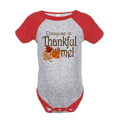 7 ate 9 Apparel Baby's Thankful for Baby Thanksgiving Onepiece