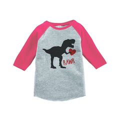 7 ate 9 Apparel Kids Dinosaur Happy Valentine's Day Pink Raglan