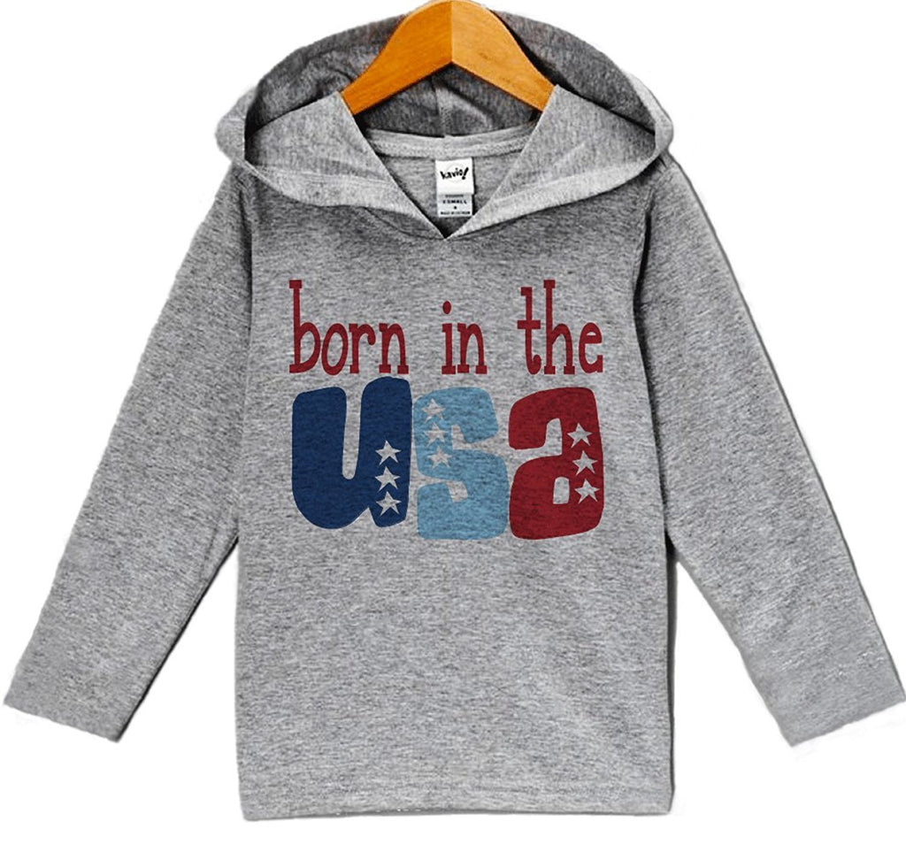 7 Ate 9 Apparel Baby Boy's Born in the USA 4th of July Hoodie Pullover