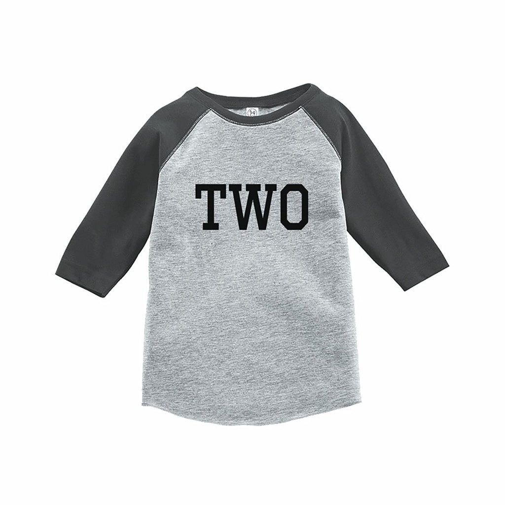 7 ate 9 Apparel Kids Two Birthday Grey Raglan Tee
