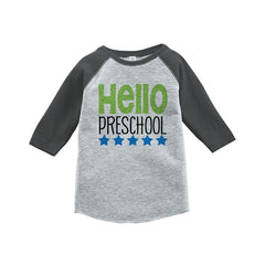 7 ate 9 Apparel Kids Hello Preschool School Grey Baseball Tee