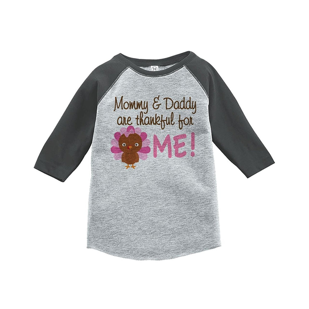 7 ate 9 Apparel Baby Girl's Thankful For Me Thanksgiving Grey Raglan