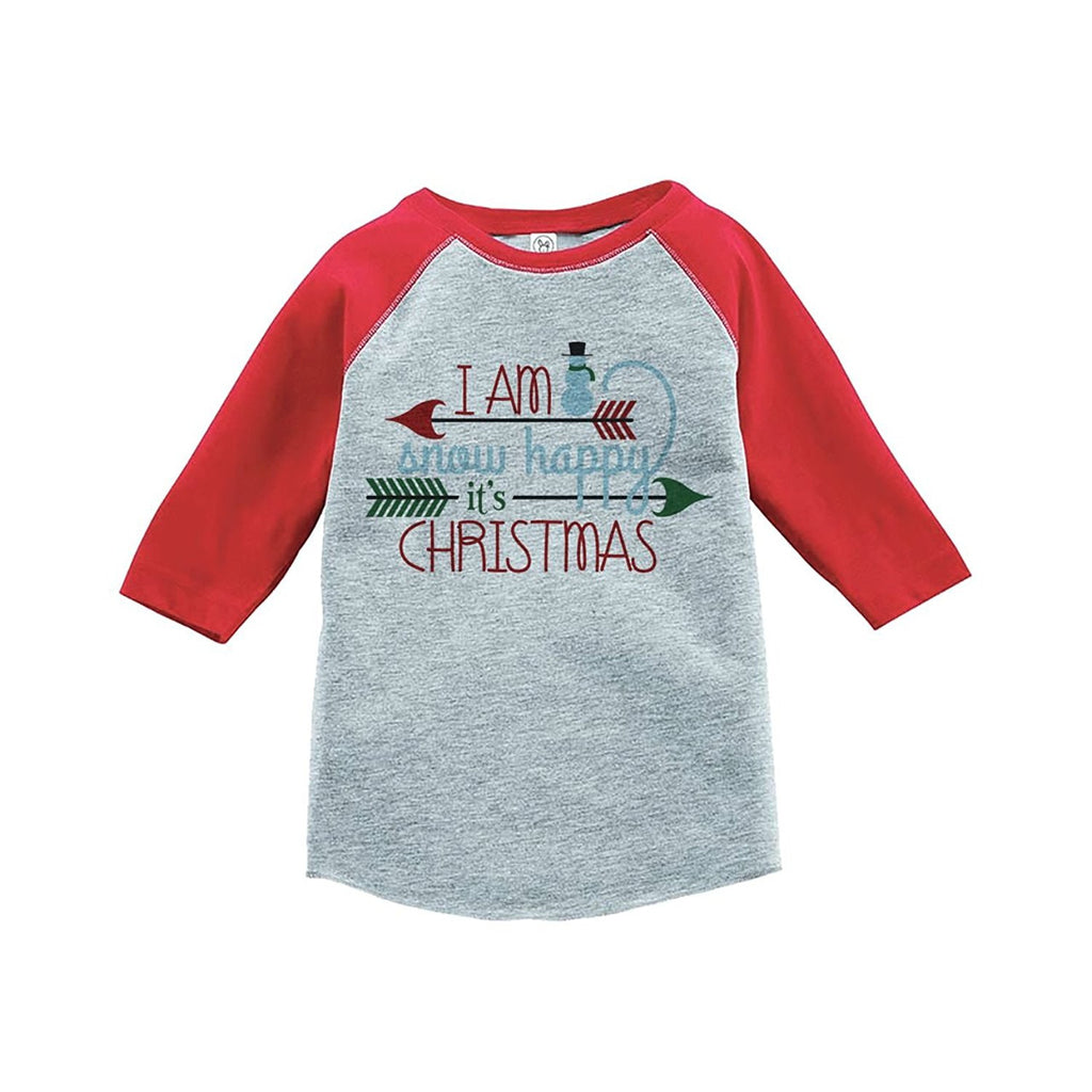 7 ate 9 Apparel Youth Snow Happy Christmas Raglan Shirt Red