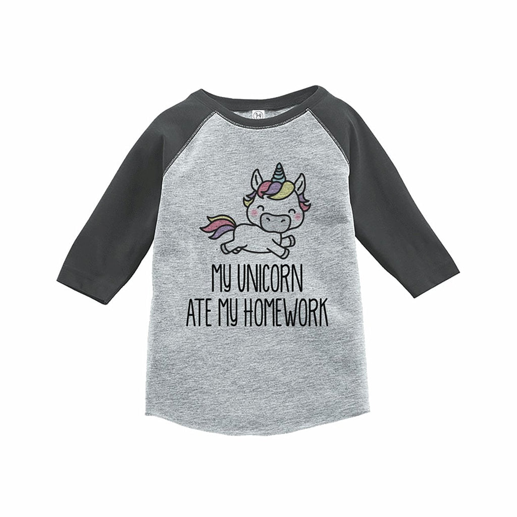7 ate 9 Apparel Funny Kids Unicorn Ate My Homework Baseball Tee Grey