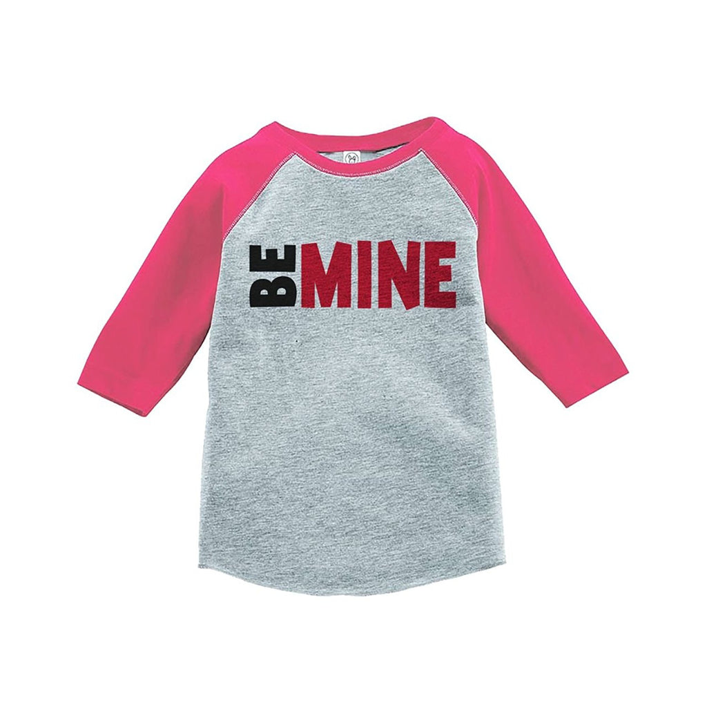 7 ate 9 Apparel Kids Be Mine Happy Valentine's Day Pink Raglan