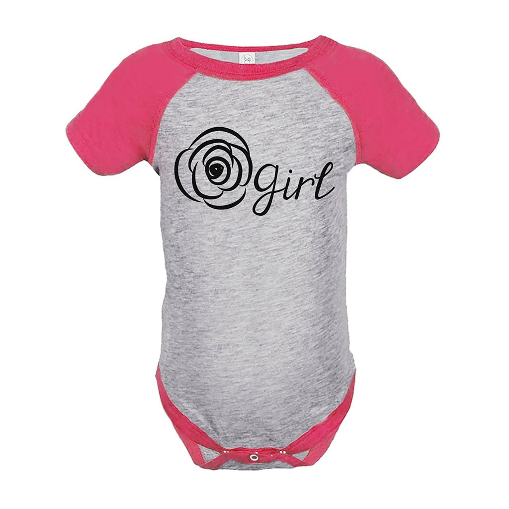 7 ate 9 Apparel Baby Girl's Flower Girl Wedding Pink Raglan Onepiece