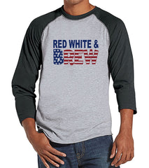 7 ate 9 Apparel Men's Red Grey & Booze 4th of July Grey Raglan Shirt