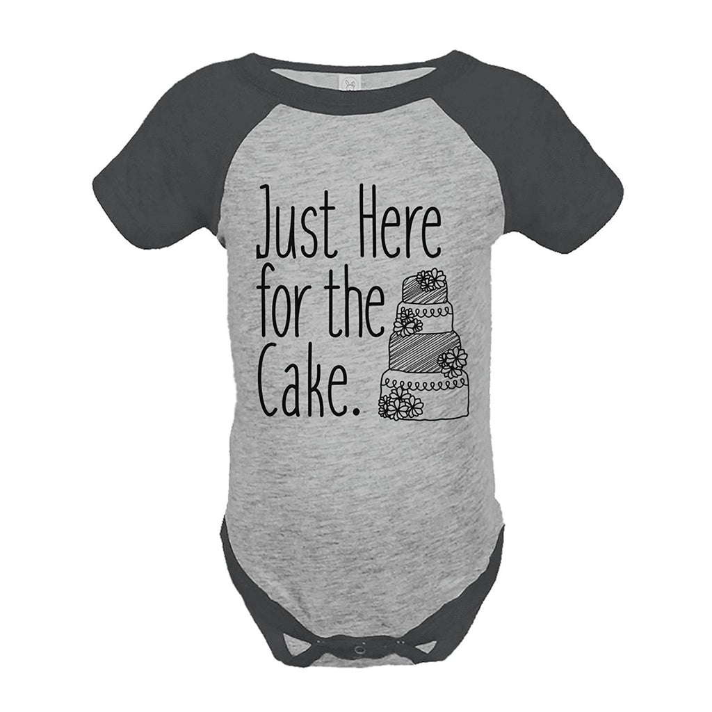 7 ate 9 Apparel Girl's Here For The Cake Wedding Grey Raglan Onepiece