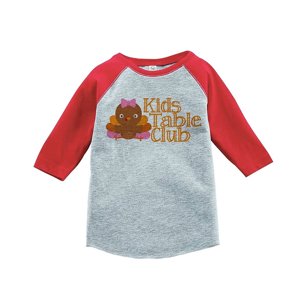 7 ate 9 Apparel Baby Girl's Kid's Table Thanksgiving Red Raglan