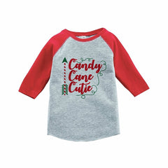 7 ate 9 Apparel Kids Candy Cane Cutie Red Raglan Tee