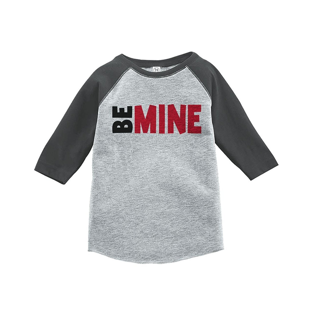 7 ate 9 Apparel Kids Be Mine Happy Valentine's Day Grey Raglan