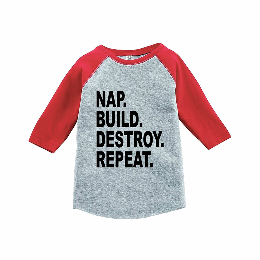 7 ate 9 Apparel Funny Kids Nap. Build. Destroy. Baseball Tee Red