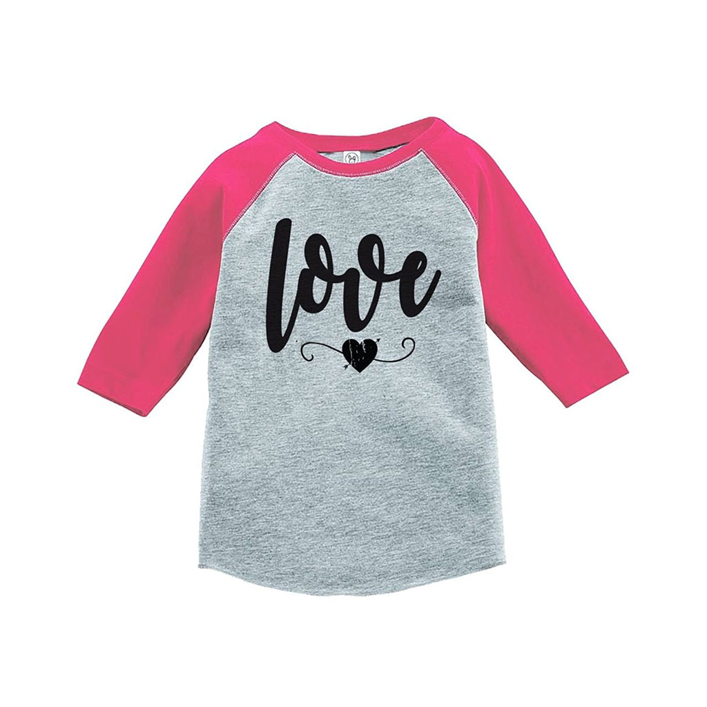 7 ate 9 Apparel Kids Love Heart Happy Valentine's Day Pink Raglan
