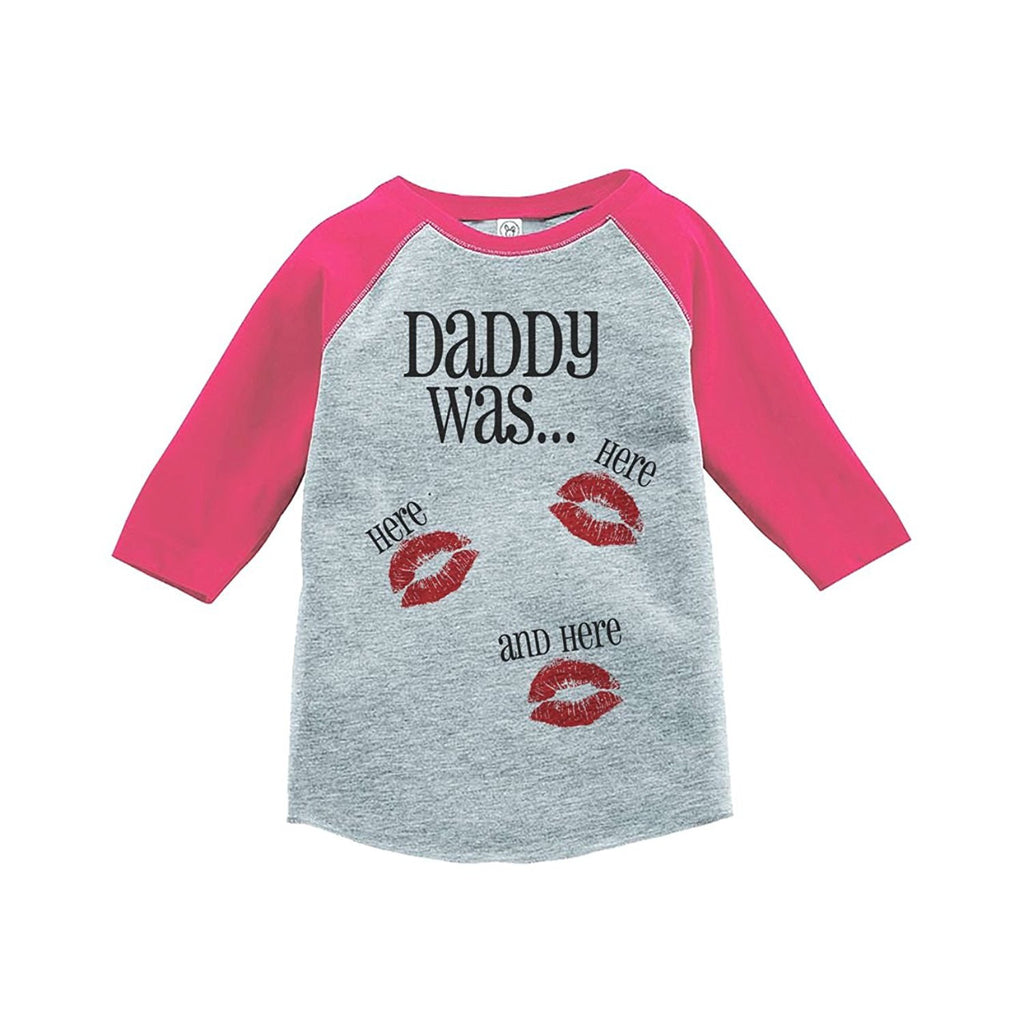 7 ate 9 Apparel Kids Daddy Was Here Valentine's Day Pink Raglan