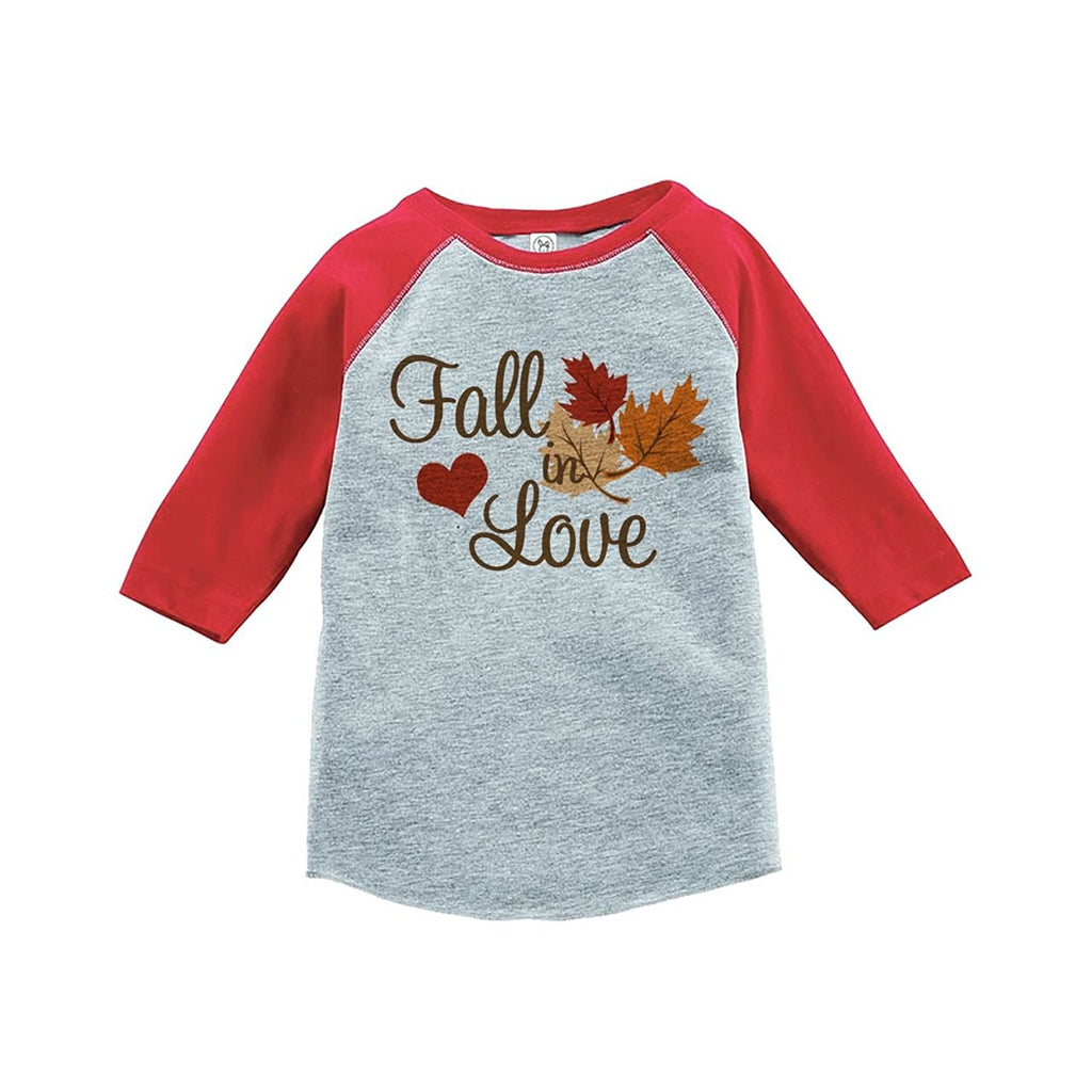 7 ate 9 Apparel Baby's Fall In Love Thanksgiving Red Raglan