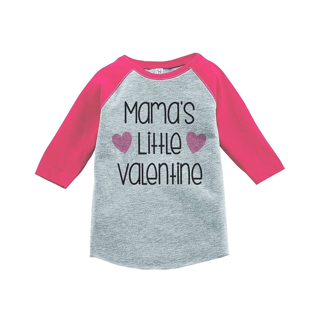 7 ate 9 Apparel Girl's Mama's Little Valentine's Day Pink Raglan