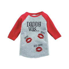 7 ate 9 Apparel Kids Daddy Was Here Valentine's Day Red Raglan