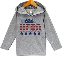 7 Ate 9 Apparel Baby Boy's Dad Is My Hero 4th of July Hoodie Pullover