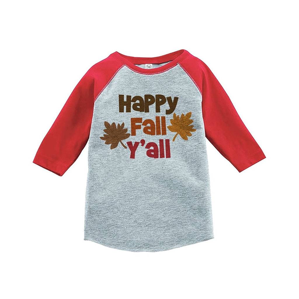 7 ate 9 Apparel Baby's Happy Fall Y'all Thanksgiving Red Raglan