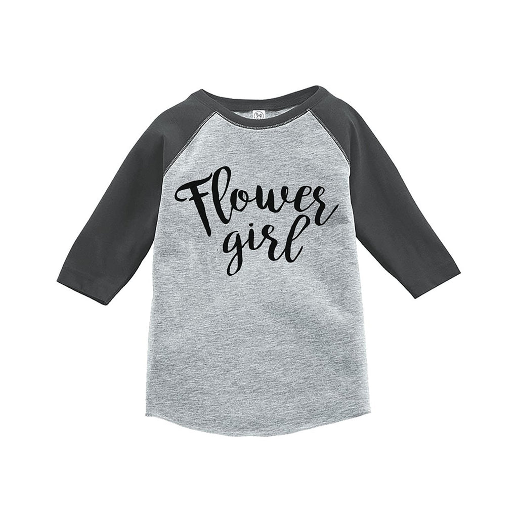 7 ate 9 Apparel Toddler Girl's Flower Girl Wedding Grey Raglan
