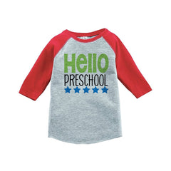 7 ate 9 Apparel Kids Hello Preschool School Red Baseball Tee