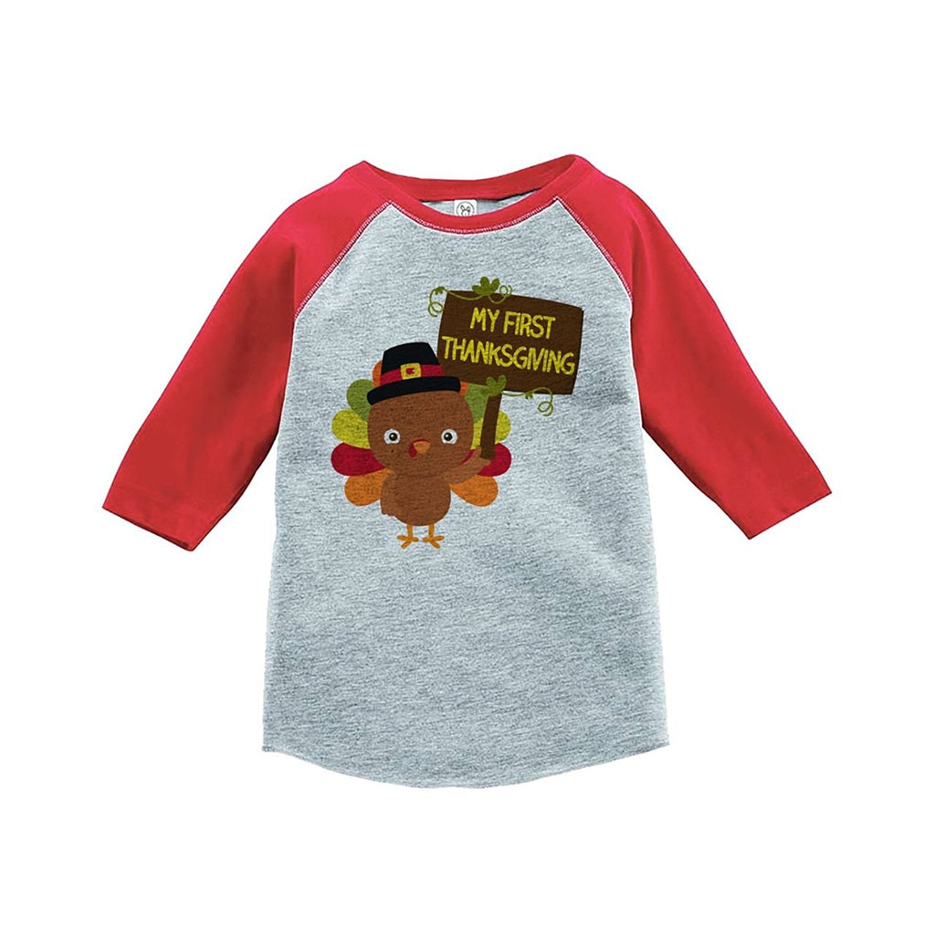 7 ate 9 Apparel Baby's My First Thanksgiving Red Raglan
