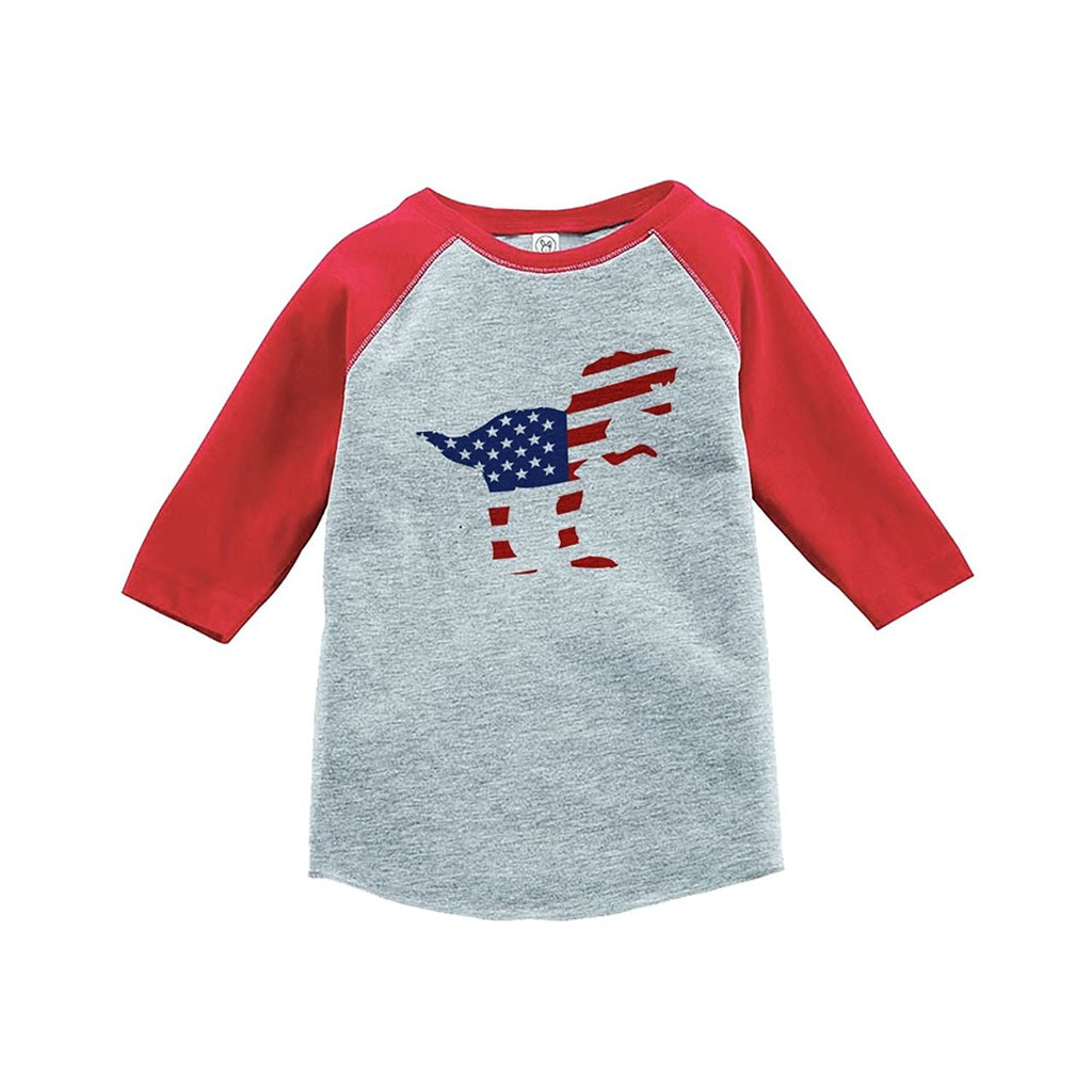 7 ate 9 Apparel Youth Dinosaur 4th of July Red Baseball Tee 5T