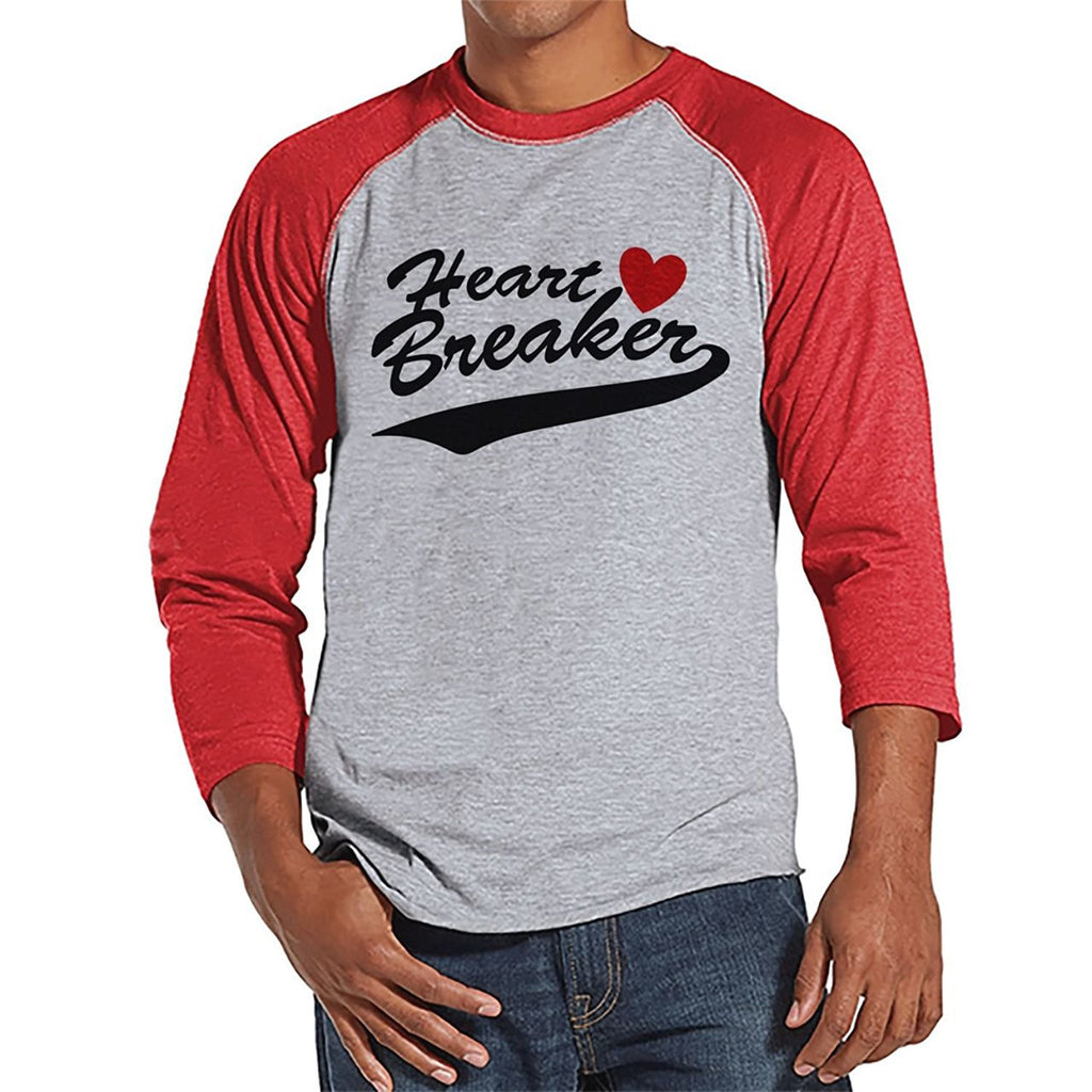 7 ate 9 Apparel Men's Heart Breaker Valentine's Day Raglan Shirt