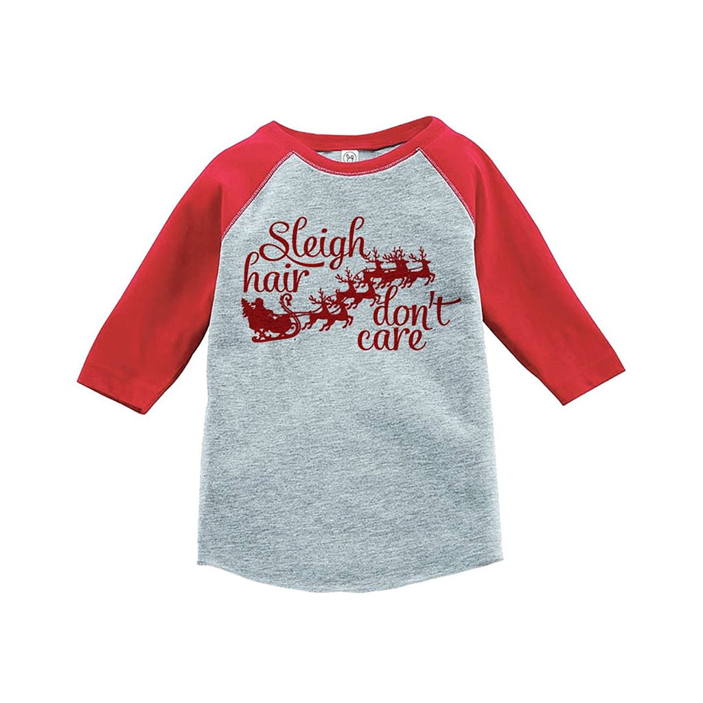 7 ate 9 Apparel Youth Sleigh Hair Don't Care Christmas Raglan Shirt Red