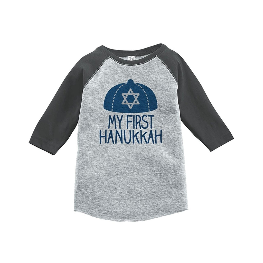 7 ate 9 Apparel Baby's My First Hanukkah Raglan Grey