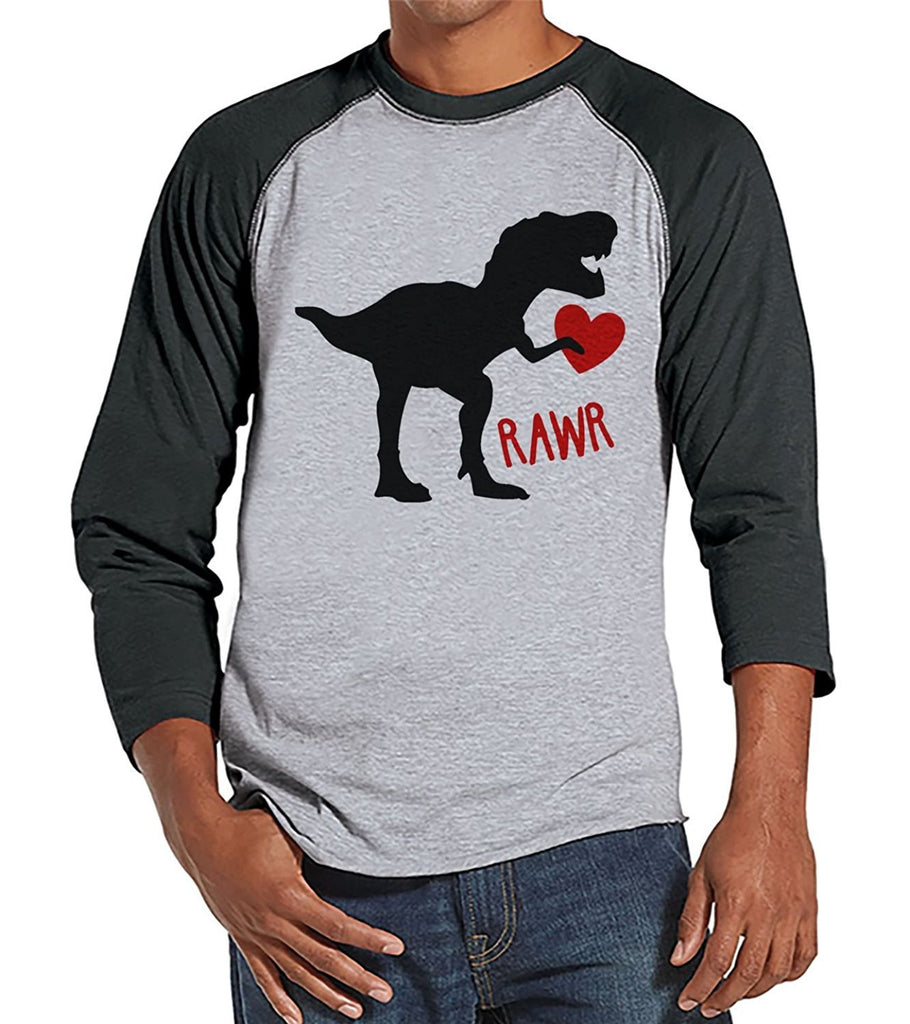 7 ate 9 Apparel Men's Dinosaur Valentine's Day Raglan Shirt