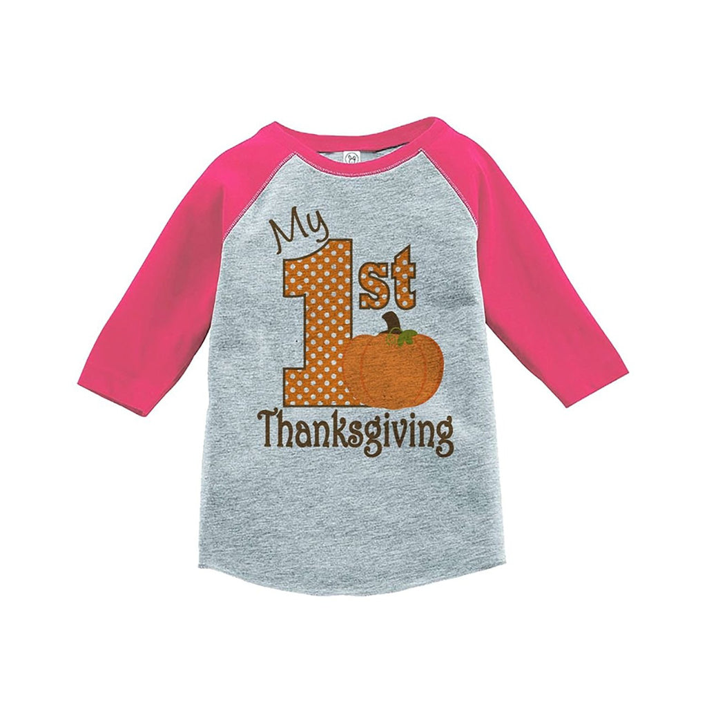 7 ate 9 Apparel Baby's 1st Thanksgiving Pink Raglan