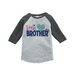 7 ate 9 Apparel Boy's Little Brother Happy Valentine's Day Grey Raglan