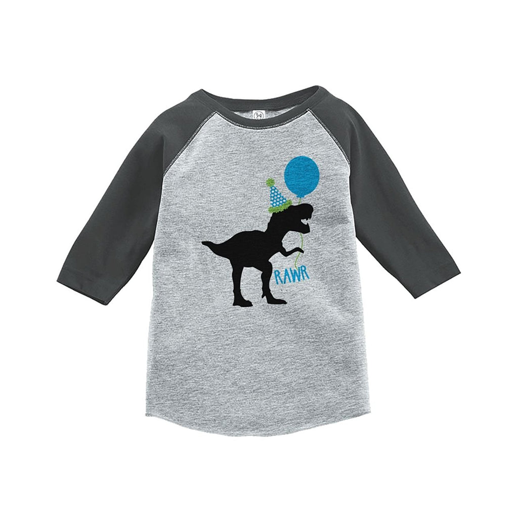 7 ate 9 Apparel Kids Dinosaur Birthday Grey Baseball Tee