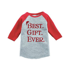 7 ate 9 Apparel Youth Best Gift Ever Christmas Raglan Shirt Red