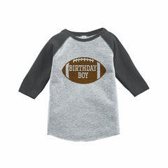 7 ate 9 Apparel Boy's Football Birthday Grey Raglan Tee