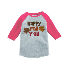 7 ate 9 Apparel Baby's Happy Fall Y'all Thanksgiving Pink Raglan