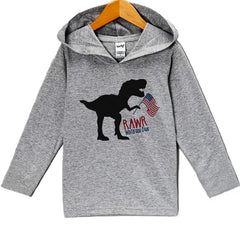 7 ate 9 Apparel Kid's Dinosaur 4th of July Hoodie Pullover