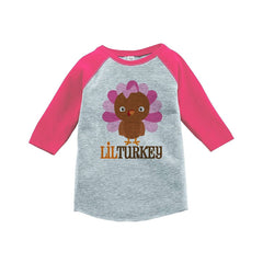 7 ate 9 Apparel Baby Girl's Little Turkey Thanksgiving Pink Raglan