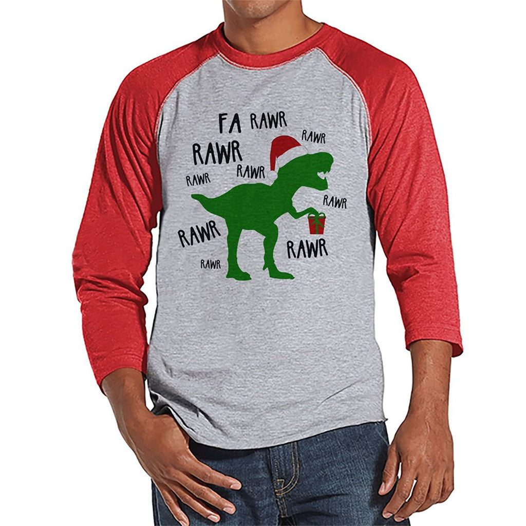 7 ate 9 Apparel Mens Dinosaur Christmas Raglan