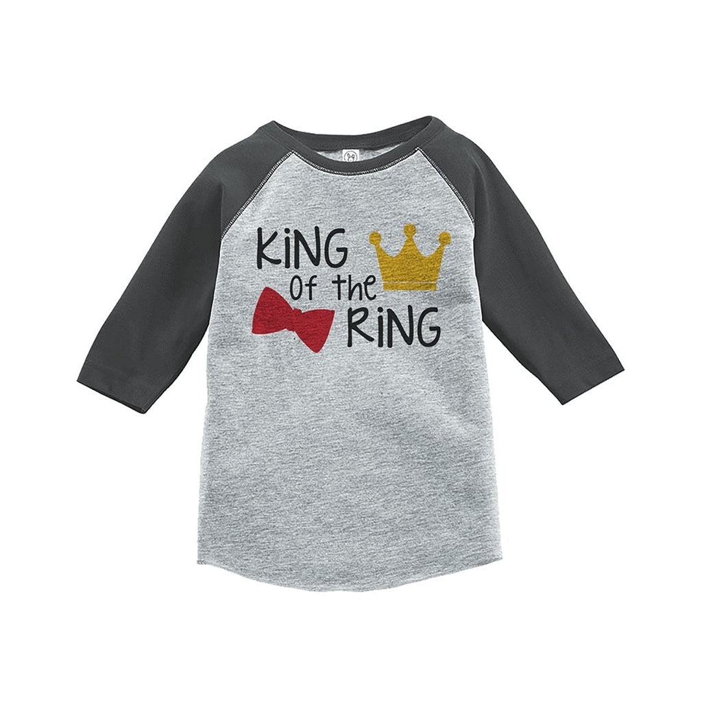 7 ate 9 Apparel Toddler Boy's King of the Ring Wedding Grey Raglan
