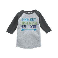 7 ate 9 Apparel Kids Look Out 1st Grade Grey Baseball Tee