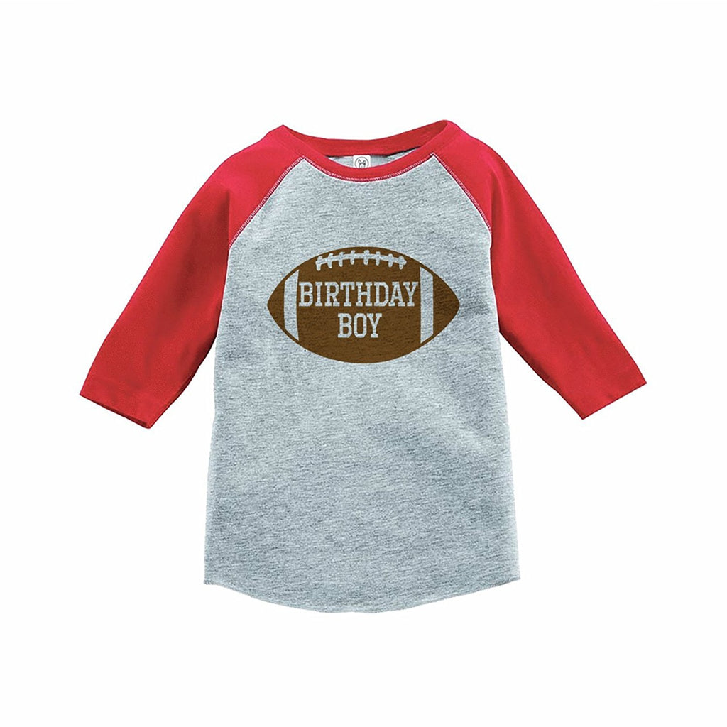7 ate 9 Apparel Boy s Football Birthday Red Raglan Tee 8298c41c8ba7