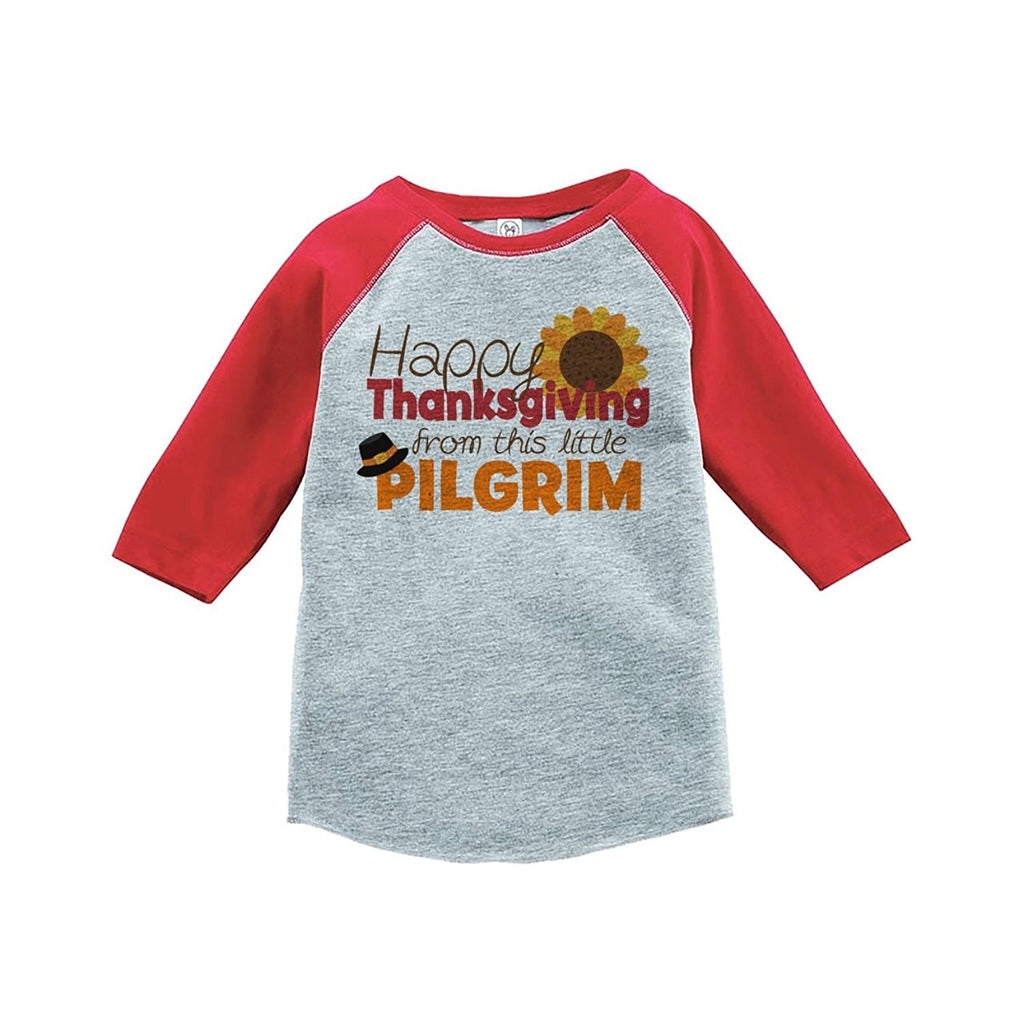 7 ate 9 Apparel Baby's Happy Thanksgiving Red Raglan