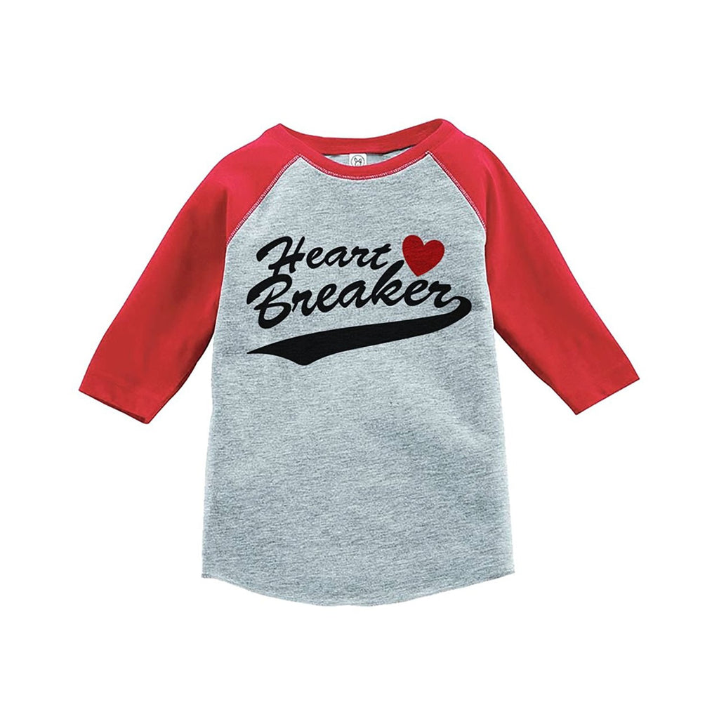 7 ate 9 Apparel Kids Heart Breaker Happy Valentine's Day Red Raglan