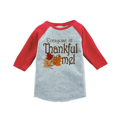 7 ate 9 Apparel Baby's Thankful for Baby Thanksgiving Red Raglan