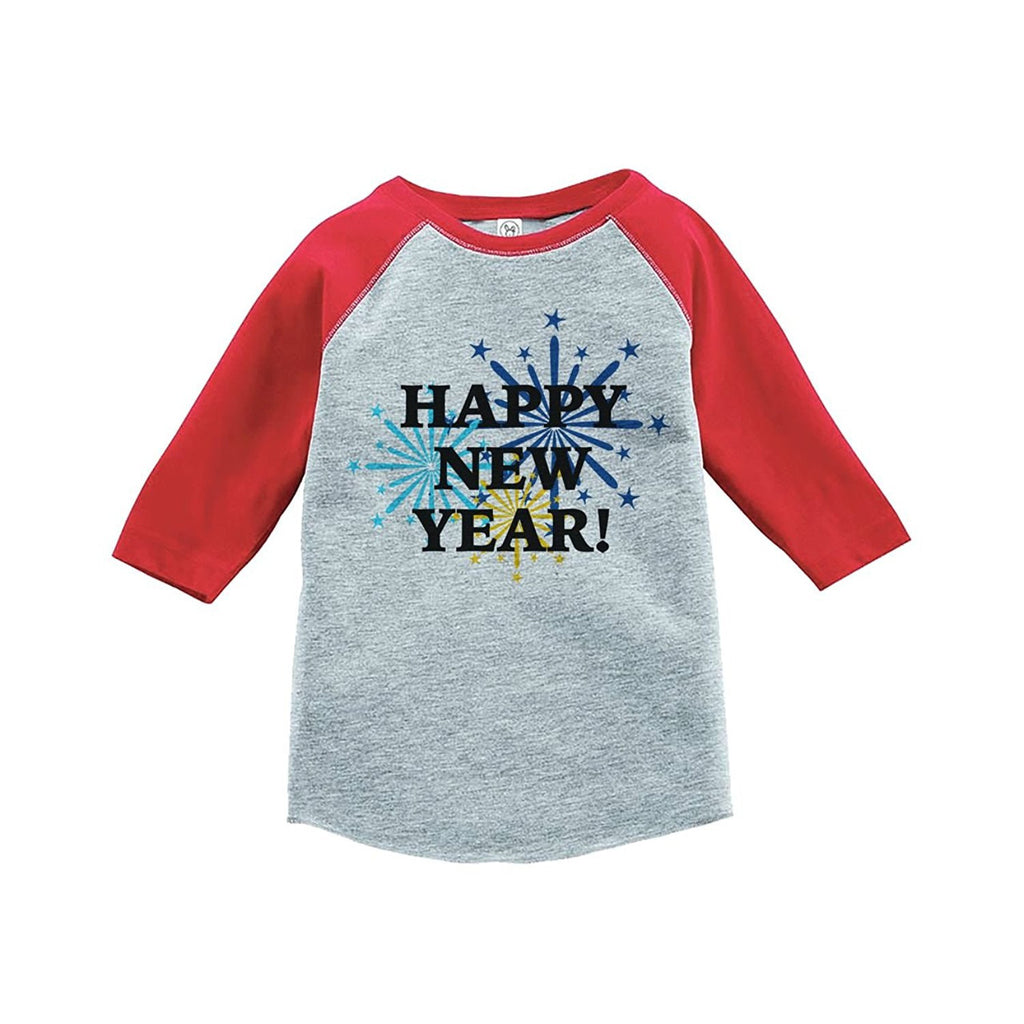 7 ate 9 Apparel Kids Fireworks Happy New Year Raglan Shirt