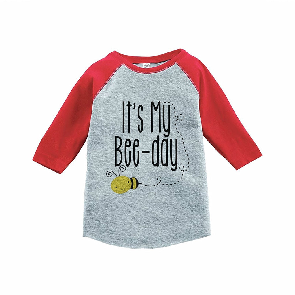 7 ate 9 Apparel Kids Bee Birthday Red Raglan Tee