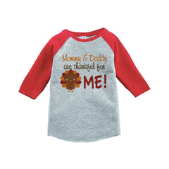7 ate 9 Apparel Baby Boy's Thankful For Me Thanksgiving Red Raglan